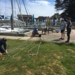 Calibrating Thunderbolt's anchor cable on the Royal Air Force Yacht Club lawn - Hamble River