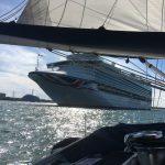 Cruise liner departing Southampton docks